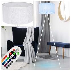 etc-shop Stehlampe, Steh Leuchte Baum Dekor Stativ Stand Lampe 3-Bein weiß Ess Zimmer im Set inkl. RGB LED Leuchtmittel