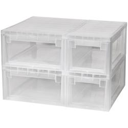 KREHER Aufbewahrungsbox 2x 7 Liter, 2x 12 Liter, mit Schubladen 4er Set weiß
