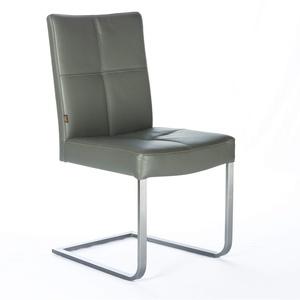SIX Freischwinger Leder-Stuhl Libero | Besucher-Stuhl Büro-Stühle Edelstahl - Leder