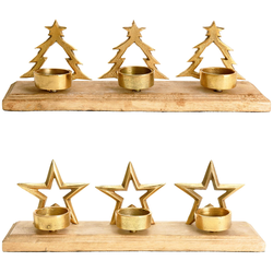 Teelichthalter im Weihnachtlichen Design Stern oder Weihnachtsbaum Gold 34x9x11 cm