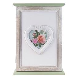 elbmöbel Schlüsselkasten Schlüsselkasten mit Herz und Bilderrahmen in weiß grün antik aus Holz, Bilderrahmen: Schlüsselkasten 21x29x6 cm grün Shabby Chick