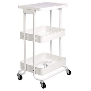Amazon Basics – Küchenwagen, Servierwagen, Metall, 2 Ebenen, mit Ablage, Weiß