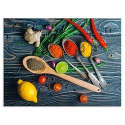 Artland Küchenrückwand Gewürze in Metalllöffeln, (1-tlg) 80 cm x 60 cm x 0,3 cm