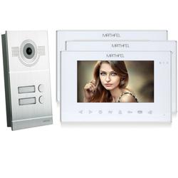 Video Türsprechanlage mit 3 Monitore - Silber Kamera Fischauge