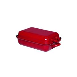 Riess Bratpfanne Bratpfanne mit Deckel Emaille Color-Rot, Emaille (2-tlg) 32 cm x 38.5 cm x 11.5 cm