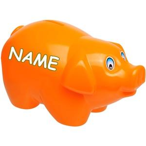 alles-meine.de GmbH große XL - Spardose - Schwein - orange - inkl. Name - 19 cm groß - stabile Sparbüchse aus Kunststoff / Plastik - Sparschwein - Glücksbringer - für Kinder & Er..