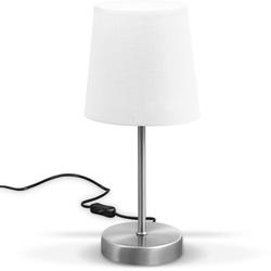 B.K.Licht Tischleuchte, LED Nachttischlampe mit Schalter E14 IP20 Stoff taupe matt-nickel weiß