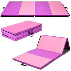 COSTWAY Gymnastikmatte Weichbodenmatte Yogamatte Turnmatte Klappmatte Fitnessmatte, mit Klettverschluss und 2 Tragegriffe, klappbar