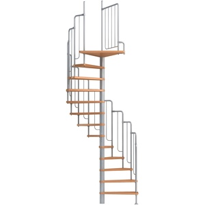 Spindeltreppe Wendeltreppe DOLLE Barcelona, Geschosshöhe: 229-291 cm, Stufen: Buche, Unterkonstruktion: grau, Durchmesser: 138 cm