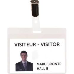 Namensschild Besucher Set 103x82,5mm Clip Kunststoff klar VE=25 Stück