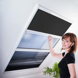 Kombi Dachfenster-Plissee - Sonnenschutz & Fliegengitter Kombiplissee für Dachfenster 110x160 cm