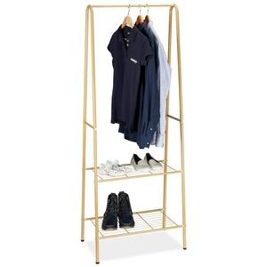 relaxdays Kleiderständer Kleiderständer 2 Ablagen SANDRA braun