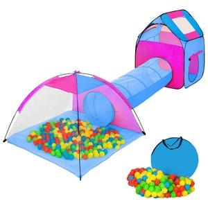 tectake Spielzelt Spielzelt mit Tunnel, 200 Bällen und Tasche blau 80.0 cm