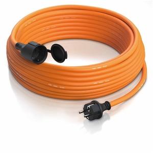 Brandson Schuko Verlängerungskabel für Outdoor 3500 W Gummi Kabel für den Außenbereich / IP44 orange 25m