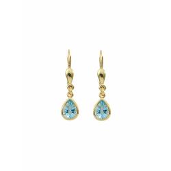 Adelia´s Paar Ohrhänger 585 Gold Ohrringe / Ohrhänger mit Aquamarin