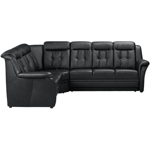 Basispreis* Polstermöbel Oelsa Komfort-Ecksofa aus Leder  Andorra ¦ schwarz