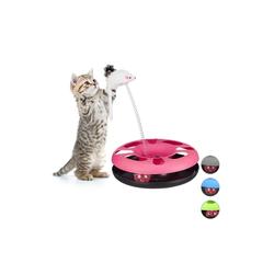 relaxdays Tier-Kugelbahn Katzenspielzeug mit Maus, Kunststoff rosa
