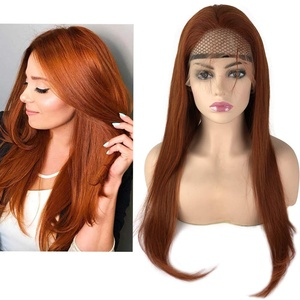 Mila Echthaar Perücke Auburn Haar Lace Front Wig Preplucked Hairline 100% Remy Hair Wig For Women 20inch/50cm