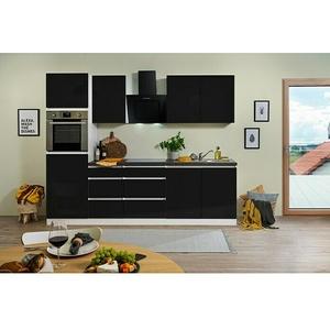 Respekta Premium Küchenzeile GLRP270HWS  (Breite: 270 cm, Mit Elektrogeräten, Schwarz Hochglanz)