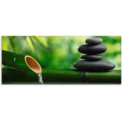 Artland Glasbild Bambusbrunnen und Zen-Stein, Zen (1 Stück) 125 cm x 50 cm