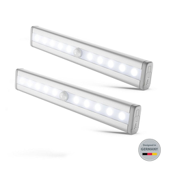 B.K.Licht LED Unterbauleuchte BKL1105, LED Schrankbeleuchtung 2 Batterie betriebene Schranklichter mit Bewegungssensor