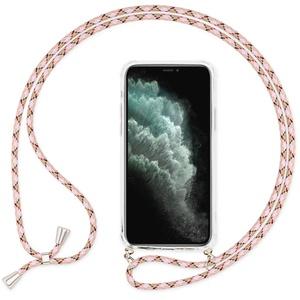 NALIA Handyhülle mit Kette kompatibel mit iPhone 11 Pro Max Hülle, Slim Necklace Hard-Case mit Umhänge-Band, Transparente Schutzhülle & Handy-Schnur, Soft Kordel Cover Etui Bumper, Farbe:Pink Weiß