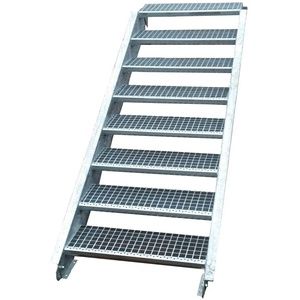 Stahltreppe Industrietreppe Aussentreppe Treppe 8 Stufen-Stufenbreite 60cm / Geschosshöhe variabel 120-160cm verzinkt Gitterrosttreppenstufen Tiefe 24cm
