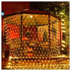 Rosnek LED-Lichtervorhang 3x2M wasserdichte LED Lichterkette Lichternetz Außen Weihnachtsbeleuchtung mit 8 Modi