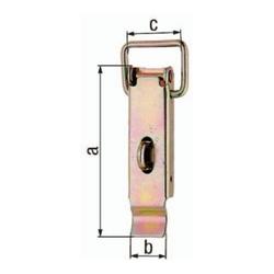 Kistenverschluss H.93mm B.30mm STA galv.gelb verz.f.Vorhangschl.m.max Ø7mm GAH