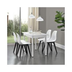 Set de 6 Chaises Design Chaise de Cuisine Chaise de Salle à Manger Plastique Blanc et Noir 83 x 54