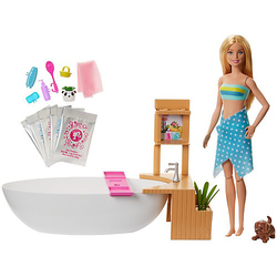 Barbie Wellnesstag Puppe Sprudelndes Bad, Anziehpuppe (blond), Barbie Badewanne