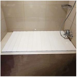 MNBVH Badewannenabdeckungen Weiß Badewannenablage Staubdichte PVC Dämmplatte Badewannenabdeckung Faltbare Badewannenisolationsabdeckung 160×75 cm