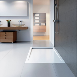 HSK Acryl-Duschwannen-Set mit integrierter Ablaufrinne, superflach 90 × 120 × 6,5 cm… Weiß