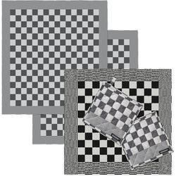 DDDDD Geschirrtuch Barbeque, (Set, Combi-Set: bestehend aus 1x Küchentuch, 2x Geschirrtuch & 2x Topflappen) schwarz