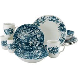 CreaTable Kombiservice Splendor, (Set, 16 tlg.), traditionelles Rosendekor blau Geschirr-Sets Geschirr, Porzellan Tischaccessoires Haushaltswaren