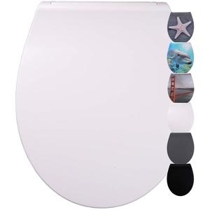 WC Sitz mit Absenkautomatik aus Duroplast, faszinierendes Design, abnehmbar, einfache Montage von oben (Flat Weiß)