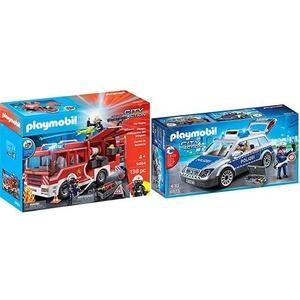 PLAYMOBIL 9464 Spielzeug-Feuerwehr-Rüstfahrzeug & 6873 - Polizei-Einsatzwagen