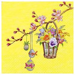 Linoows Papierserviette 20 Servietten Ostern Blütenzweig mit Blumenkorb &, Motiv Ostern Blütenzweig mit Blumenkorb und Bunte Eier