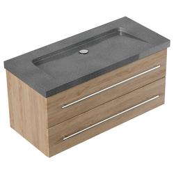 Emotion Waschtisch Badmöbel Granit G654 Damo 100 cm ohne Hahnloch eiche hell