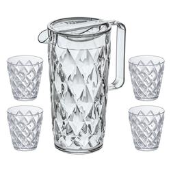 KOZIOL Kanne Crystal mit 4 Bechern, 1,6 l