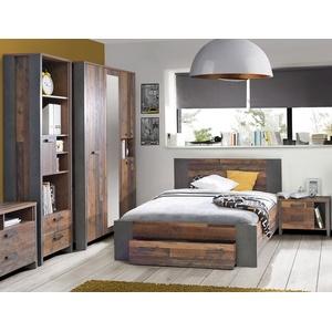 expendio Jugendzimmer-Set Cedric, (Spar-Set, 4-tlg), Old Wood Vintage braun 140x200 cm mit Bettschubkasten