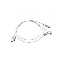 ROLINE USB2.0 Kbl. MicroB+8pin+C A 1m Digital/Daten Ladekabel USB 2.0 8-polig Weiß (11.02.8329)
