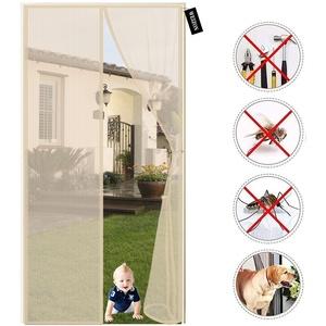 Fliegengitter tür Balkontür, 215x195cm(84x76inch)Der Magnetvorhang ist Ideal für die Balkontür, Kellertür und Terrassentür, Kinderleichte Klebemontage Ohne Bohren - Beige