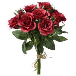 Kunstblume Kleiner Rosenstrauß gebunden Blumenstrauß 27 cm 1 Stk rot Rosen, matches21 HOME & HOBBY, Höhe 27 cm, Indoor rot