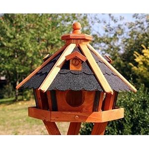 holzdekoladen Vogelhaus, Vogelhäuser mit und ohne Ständer behandelt Typ 23 (Schwarz, ohne Ständer)