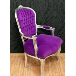 Barock Salon Stuhl Lila / Silber