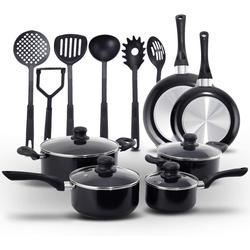 COSTWAY Kochtopf Kochset, Alu, Nylon, (16-tlg), mit 4 Kochtöpfe, 2 Bratpfannen und 6 Küchenhelfern