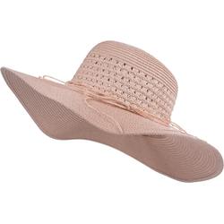 styleBREAKER Sonnenhut Großer Sonnenhut mit Hutband und Schleife Strohhut Großer Sonnenhut mit Hutband und Schleife Strohhut rosa