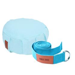 Yoga Set Blau/Türkis inkl. Yogakissen und Yogagurt