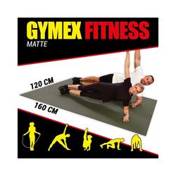 GYMEX Yogamatte GYMEX Fitness-Matte, XXL extra groß, rollbar, für Yoga, Sport & Fitness grau 120 cm x 160 cm x 0,5 cm